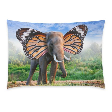 ZKGK Cute African Animal Home Decor, Elephant with Butterfly Wings Soft Cotton Pillowcase 20 x 30 Inches,Green Grass Pillow Cover Case Shams Decorative