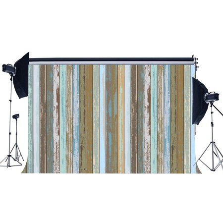 ABPHOTO Polyester 7x5ft Wood Backdrop Weathered Peeled Multicolor Painted Stripes Wooden Board Photography Background for Baby Shower Kids Adults Happy Birthday Party Decoration Photo Studio Props