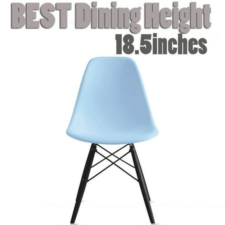 2xhome Blue Mid Country Modern Molded Shell Designer Assembled Plastic Chair Side No Arms Wheels Armless Dark Wood Wooden Eiffel for Dining Room Bedroom Kitchen Accent Office DSW Comfortable Desk ()
