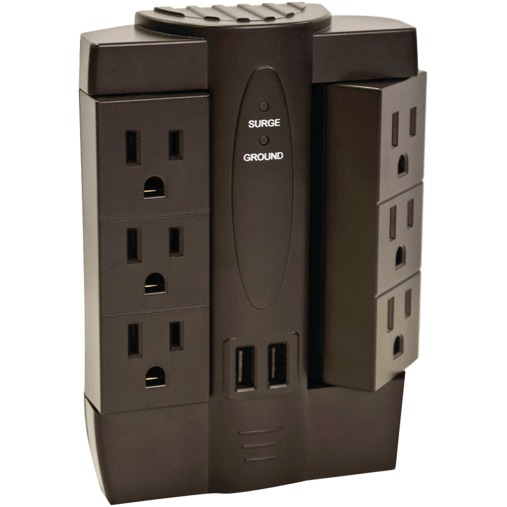 Axis 6-Outlet Swivel Surge Protector with USB Ports