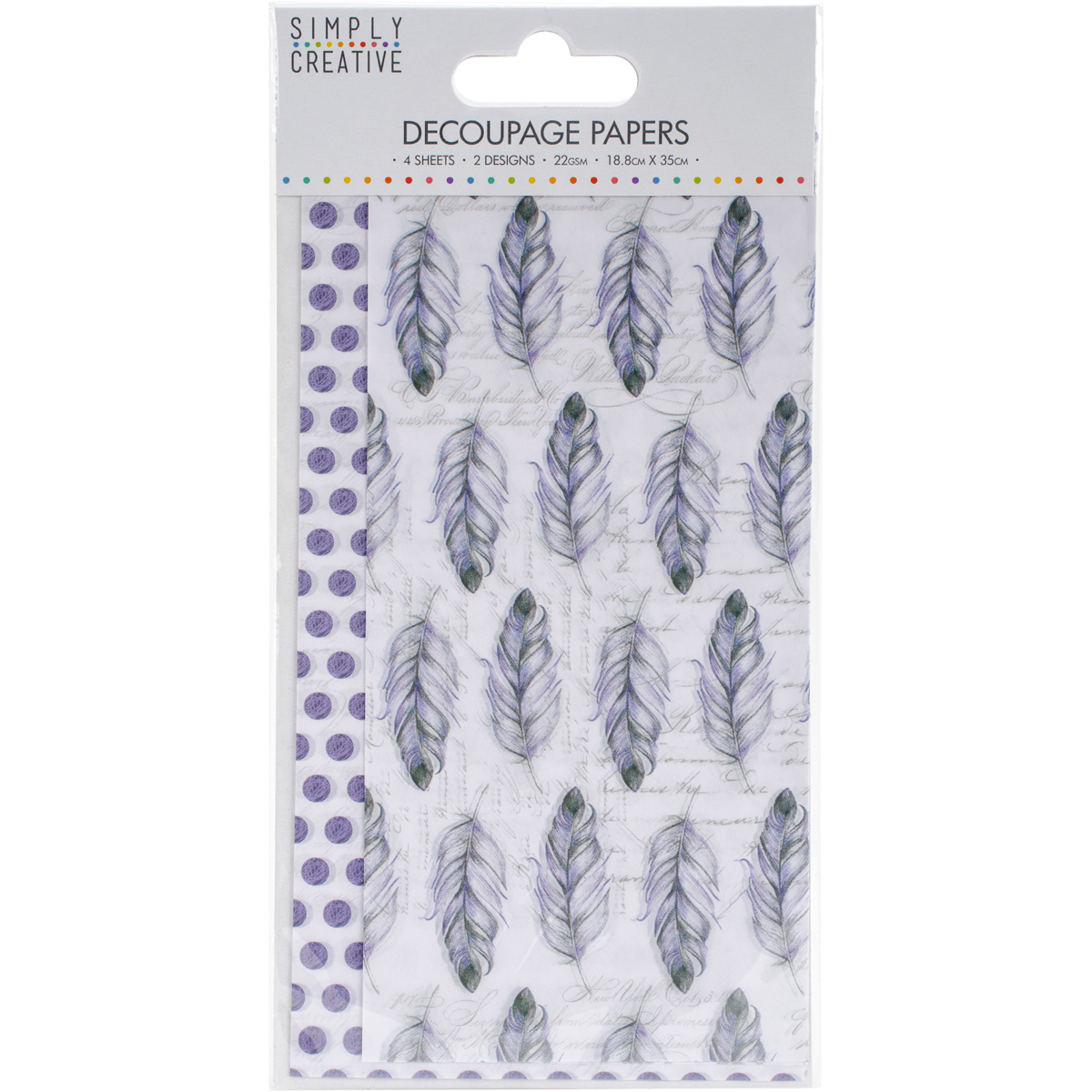 Simply Creative Decoupage Paper 18.8cmX35cm 4/Pkg-Purple Feathers
