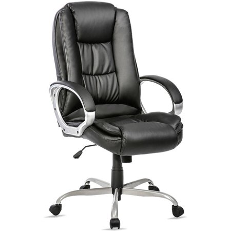 Merax Ergonomic PU Leather High Back Executive Office Chair Big & Tall Commercial Chair Thick Padded Computer Desk Chair with Padded (Back Office Desk Chair)