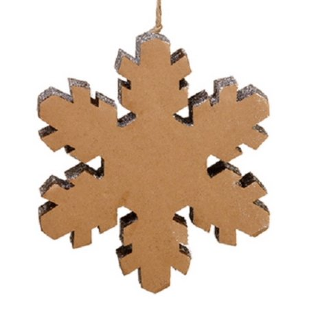 """Image of 10"""" Winter Light Country Rustic Silver Glitter Snowflake Decorative Christmas Ornament"""