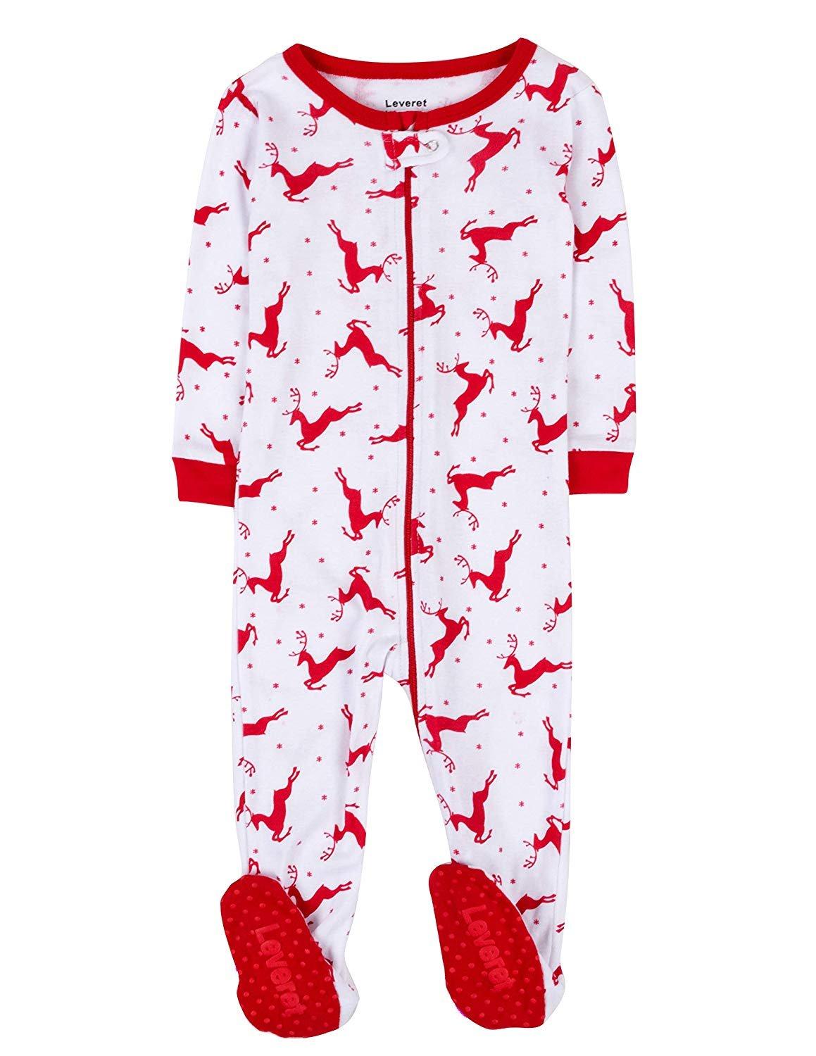 Leveret White Reindeer Footed Pajama Pajama Sleeper 100% Cotton 18-24 Months