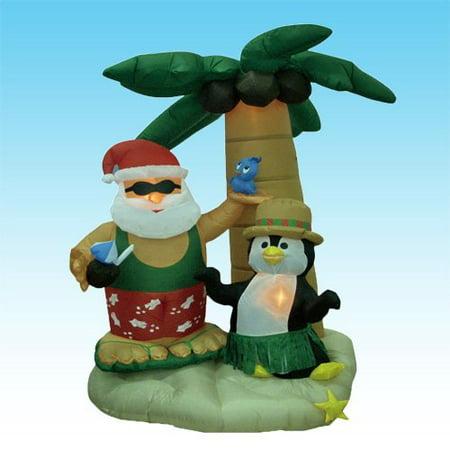 Christmas Inflatable Santa Claus & Penguin on an Island with Palm Trees - 7 Feet - Christmas Penguin