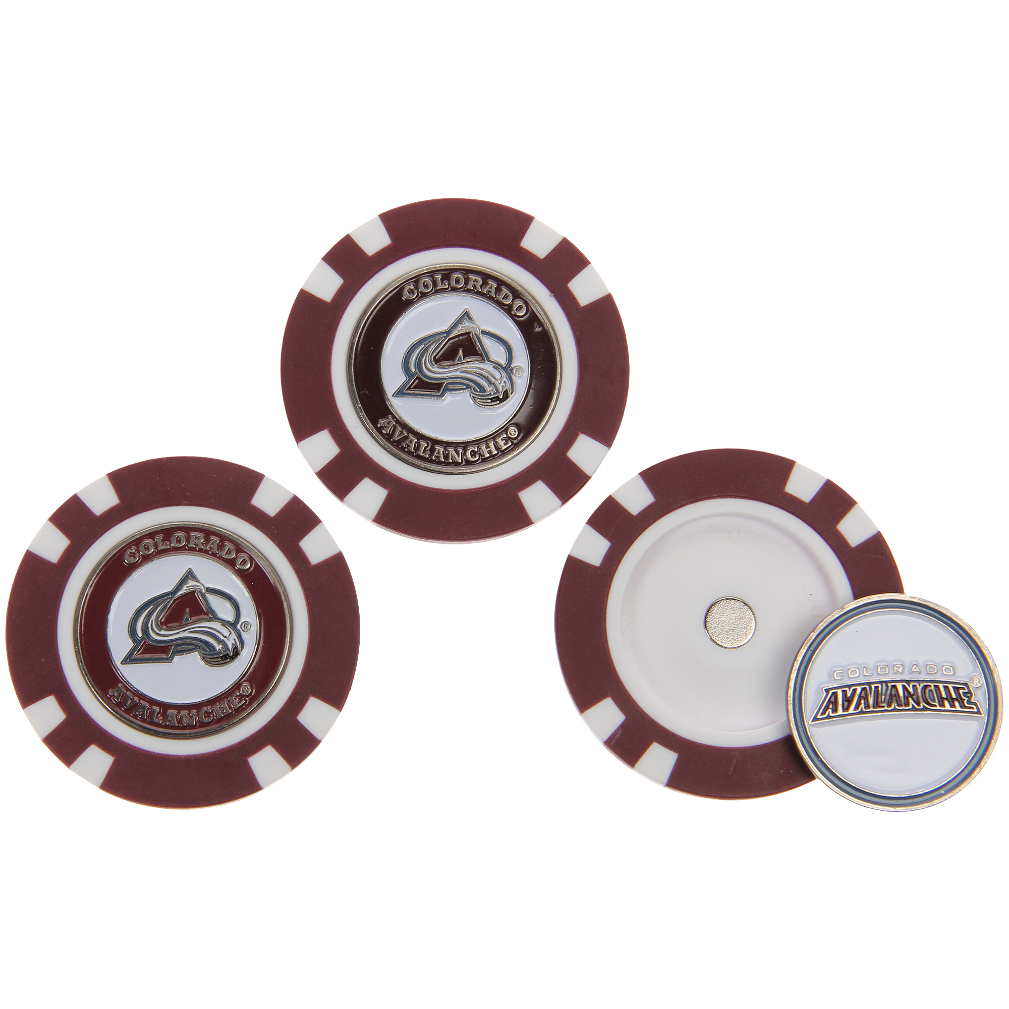 Colorado Avalanche 3-Pack Poker Chip Golf Ball Markers - No Size