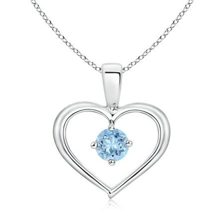 Aquamarine Jewelry - Valentine Jewelry Gift - Solitaire Round Aquamarine Open Heart Pendant in 14K White Gold (4mm Aquamarine) - SP0165AQ-WG-AAA-4