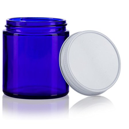 Cobalt Blue Thick Glass Straight Sided Jar with White Metal Airtight Lid - 4 oz / 120 ml (12 pack) + Spatulas and Labels