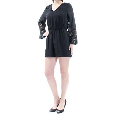860248c1ad0a Bar III - BAR III Womens Black Eyelet Long Sleeve V Neck Romper Size  M -  Walmart.com