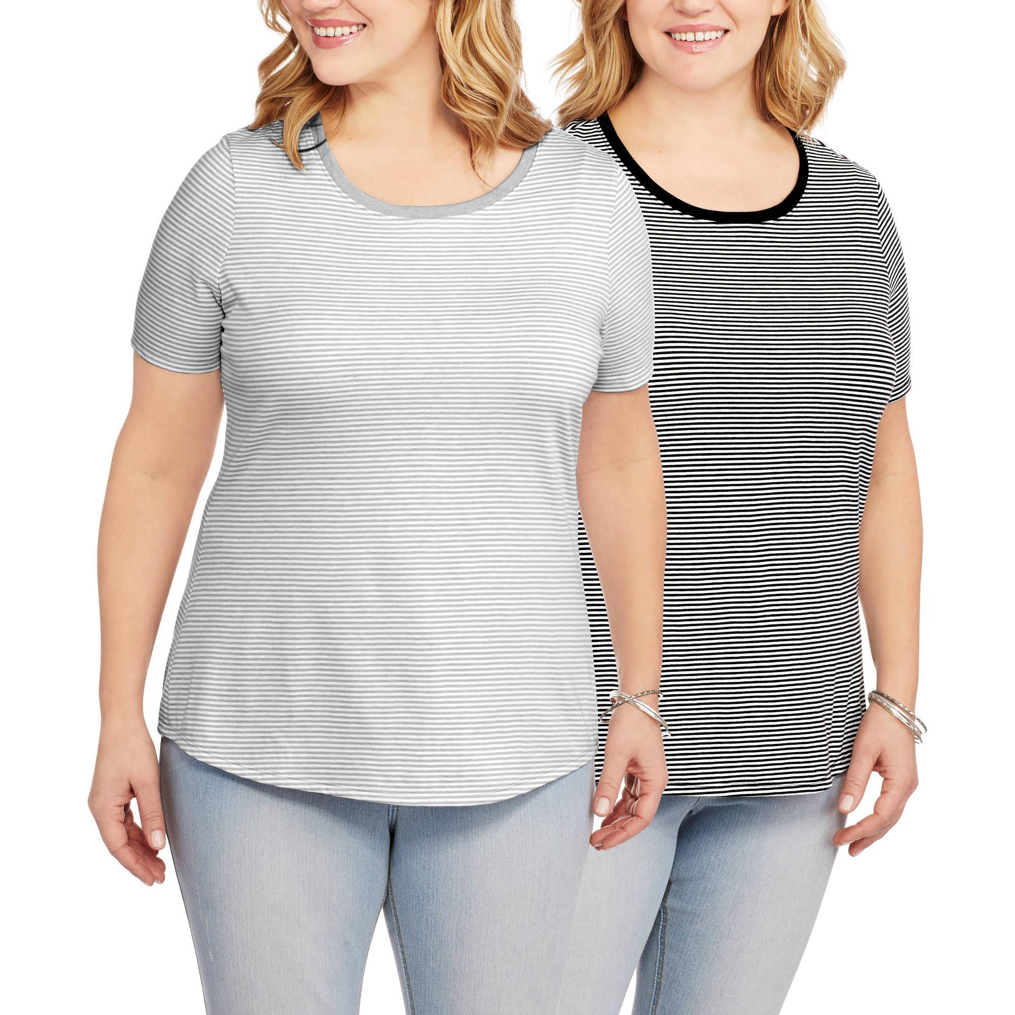 Women's Plus-Size Short Sleeve Crew Neck Tee, 2 Pack Value Bundle
