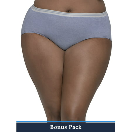 Fit for Me Women's Plus 6+2 Bonus Pack Assorted Heather Brief (Fruit Of The Loom Fit For Me Underwear)