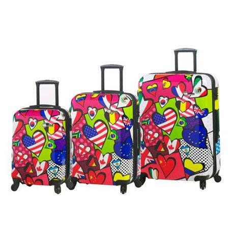 mia toro italy  international love 3-piece expandable fashion hardside spinner luggage
