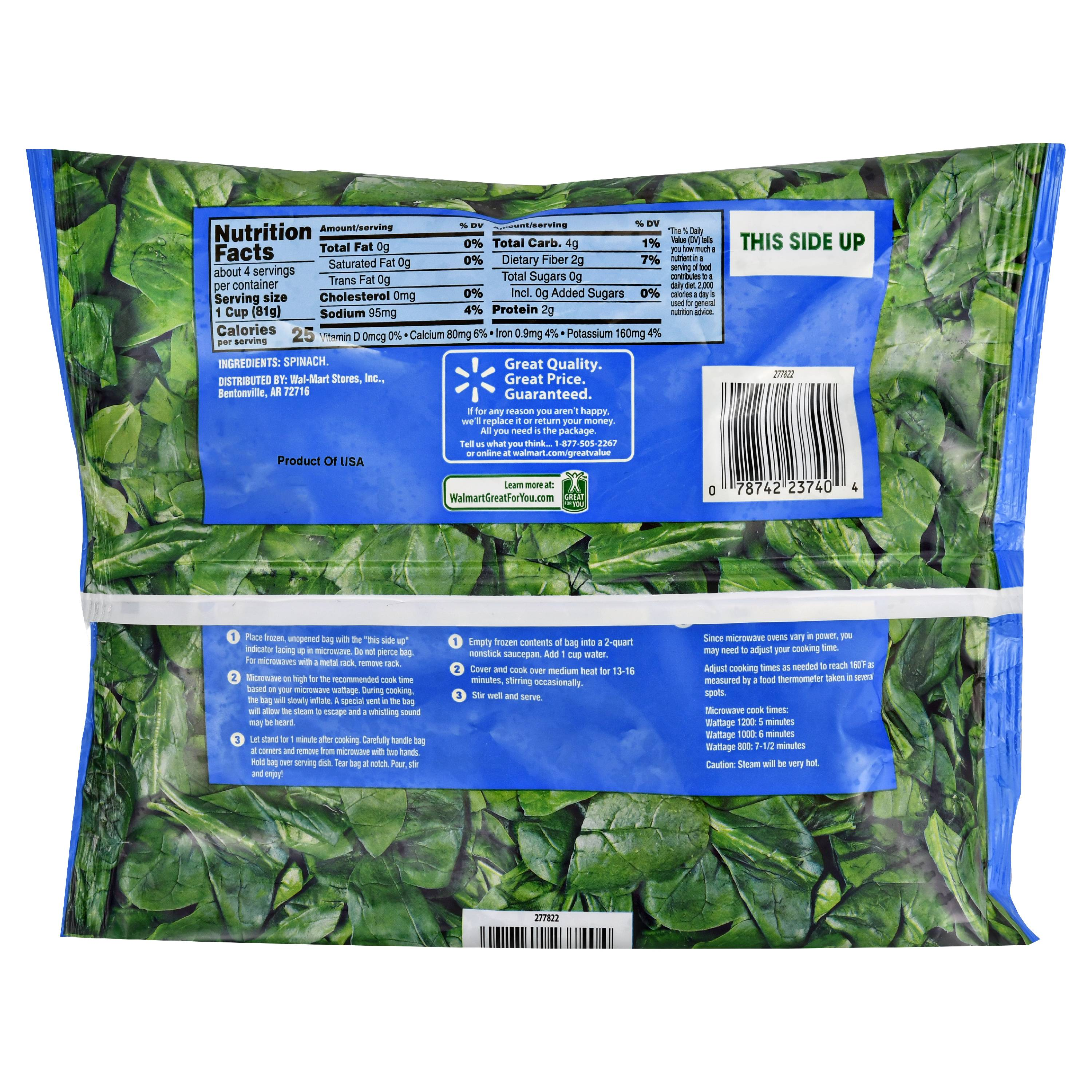 Nutritional value of 2 cups raw spinach