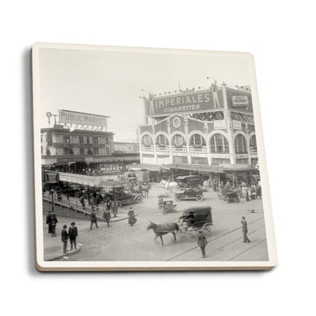 Seattle  Washington   Pike Place Market   Vintage Photograph  Set Of 4 Ceramic Coasters   Cork Backed  Absorbent