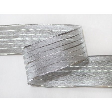 (Ribbon Bazaar Wired Pinstriped Sheer Metallic 7/8 inch Silver 25 yards Ribbon)
