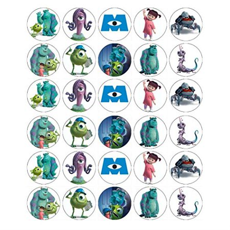 Monsters Inc Mike And Sully Edible Frosting Cupcake Topper  30ct*