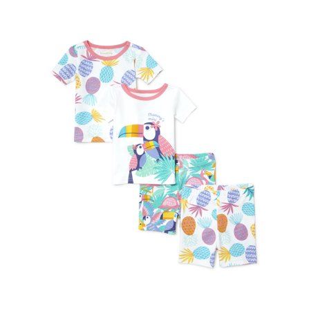 Baby And Toddler Girls 'Mommy's Mini' Paradise Bird And Pineapple Printed 4-Piece Snug-Fit PJ Short Set (Baby and Toddler Girls)](Girls Night Out Accessories)