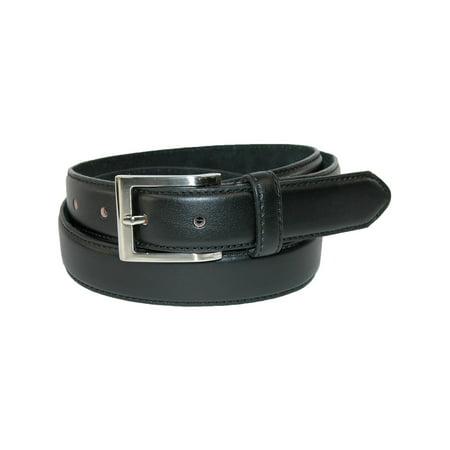 Men's Big & Tall Leather Basic Dress Belt with Silver Buckle - Black Widow Belt Buckle Marvel