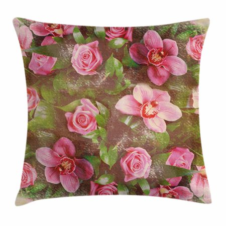 Shabby Chic Wedding - Shabby Chic Decor Throw Pillow Cushion Cover, Romantic Retro Floral Composition Grunge Wedding Corsage Art, Decorative Square Accent Pillow Case, 16 X 16 Inches, Green Pink Light Pink, by Ambesonne