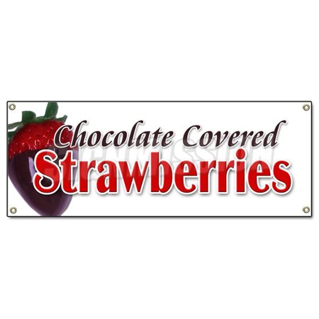 Chocolate Covered Strawberries Banner Sign Candy Dipped Chocolatier Sweet