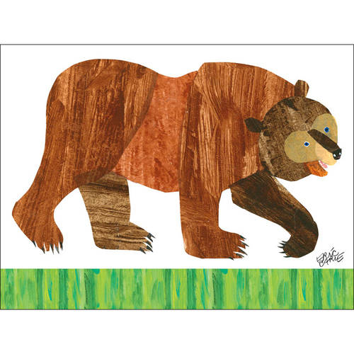 Oopsy Daisy - Eric Carles Brown Bear Canvas Wall Art 24x18, Eric Carle