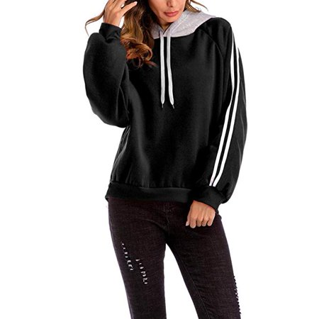 Women Plus Size Hoodies, Ladies Casual Color Matching Patchwork Loose Oversized Hooded Striped Sweater