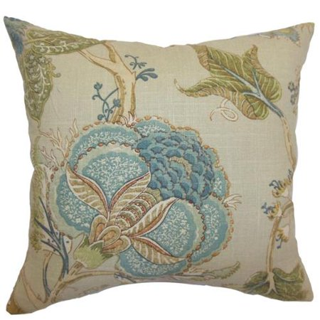 The Pillow Collection Ymanya Seacoast Floral Feather And Down Filled 18 Inchthrow Pillow