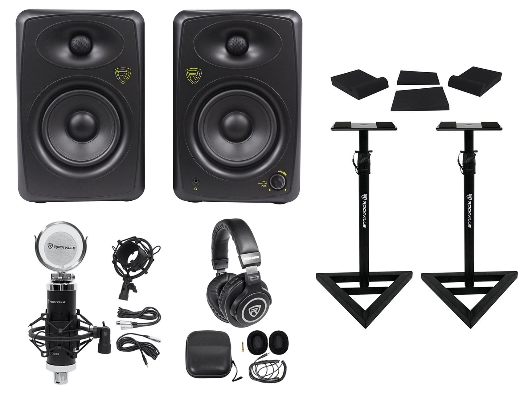 "2) Rockville ASM5 5"" 200W Powered Studio Monitors+Stands+Pads+Headphones+Mic by ROCKVILLE"