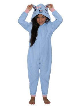 St. Eve Girls' Union Suit Pajama Micro Fleece Hooded Blanket Sleeper, Blue Raccoon, Size: 14/16