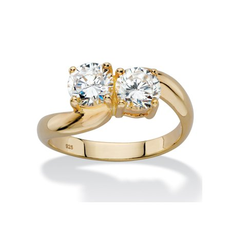 1.96 TCW Round White Cubic Zirconia Bypass Swirl Ring in 14k Yellow Gold over Sterling (Silver Gold Swirl)