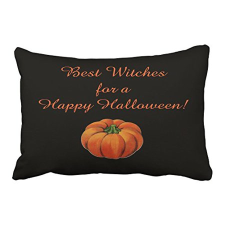 WinHome Vintage Fashion Happy Halloween best witches Simple Pumpkin Pattern Polyester 20 x 30 Inch Rectangle Throw Pillow Covers With Hidden Zipper Home Sofa Cushion Decorative Pillowcases - Best Halloween Pumpkin Patterns
