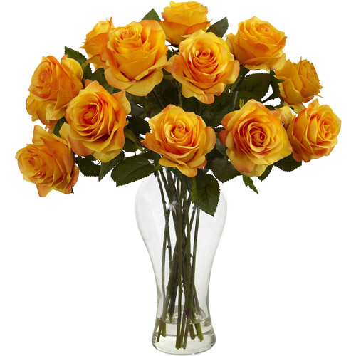 Nearly Natural Blooming Roses with Vase, Orange Yellow