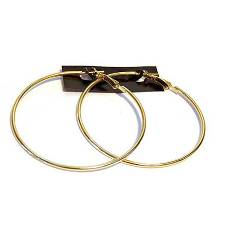 Gold Tone Hoop Earrings Classic 2.25 inch Hoop Earrings