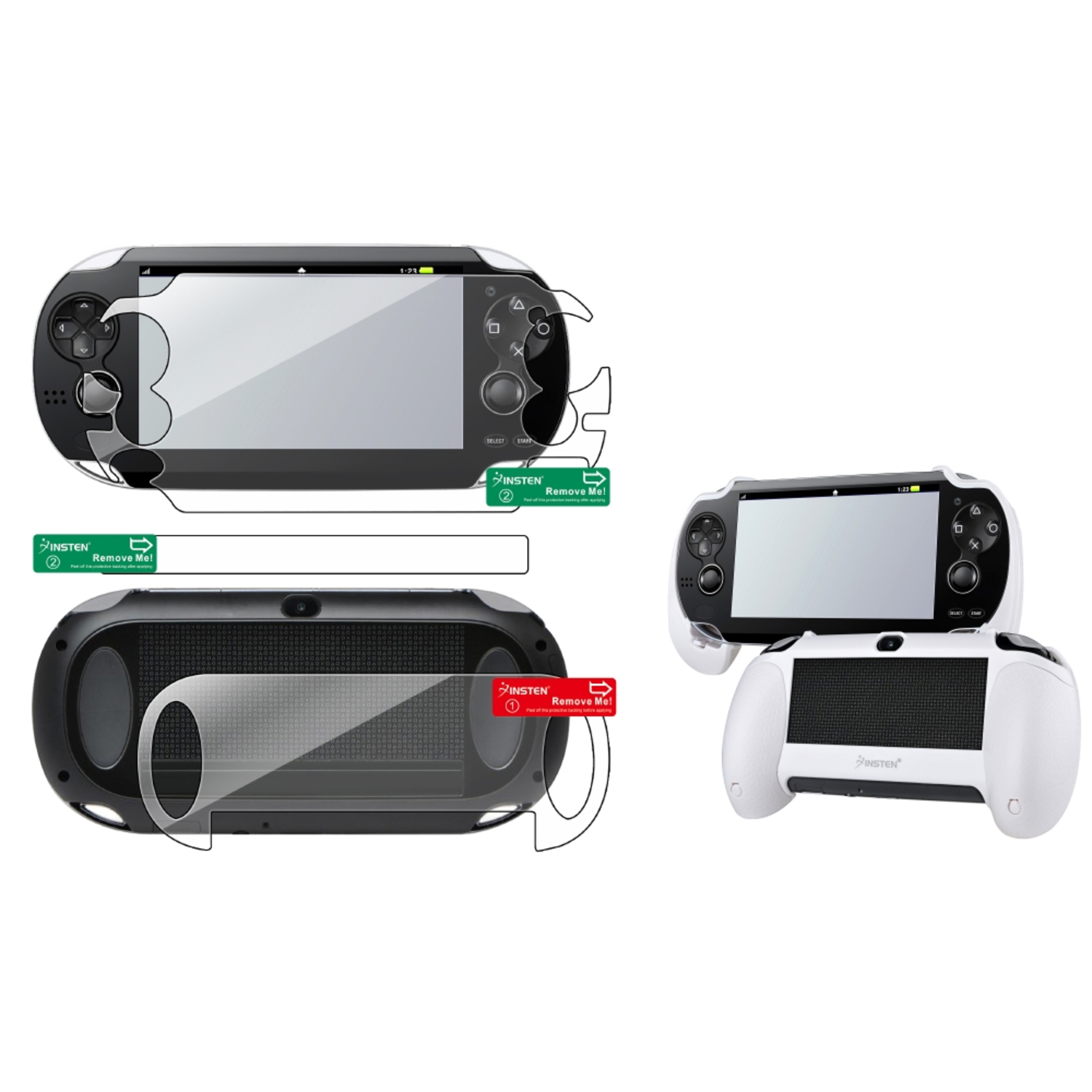 Insten Clear Full Body Protector + Hand Grip Holder For Sony Playstation PS Vita