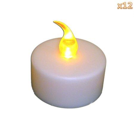 Battery-Powered-Flameless-LED-Tealight-Votive-Candles-Light-Yellow-12Pcs-