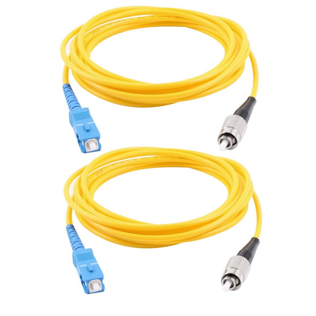 2 Pcs Yellow FC to SC Single Mode Fiber Optic Patch Cable Jumper  3 Meters