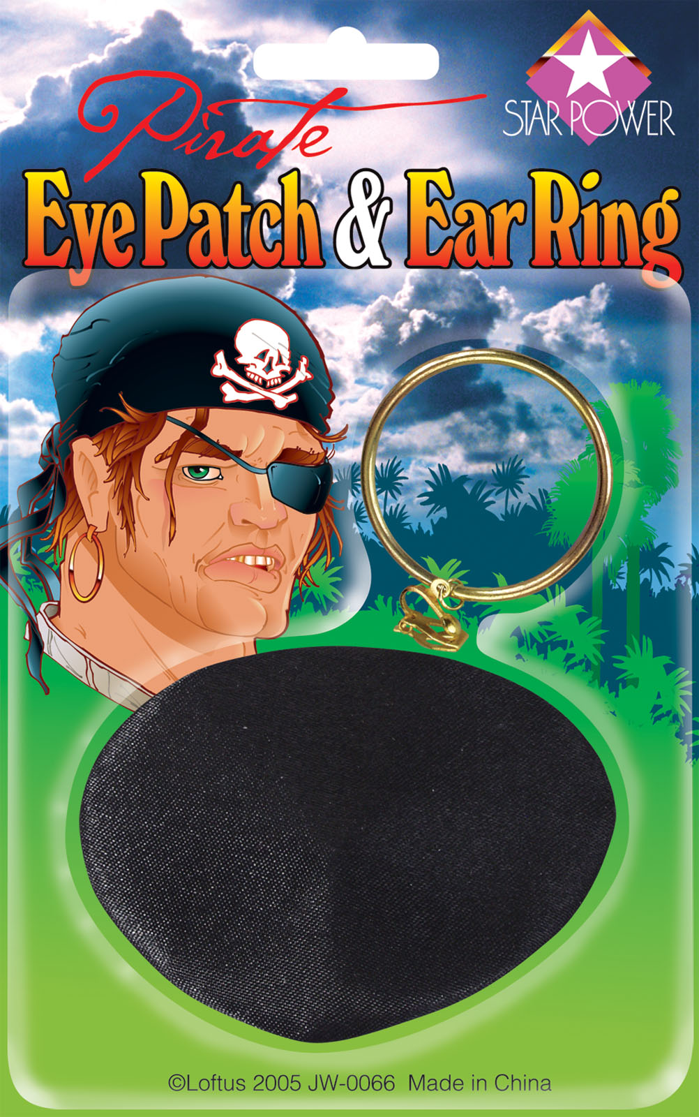 Star Power Child Pirate Eyepatch Earring Accessory Kit, Black Gold, One Size by Loftus International