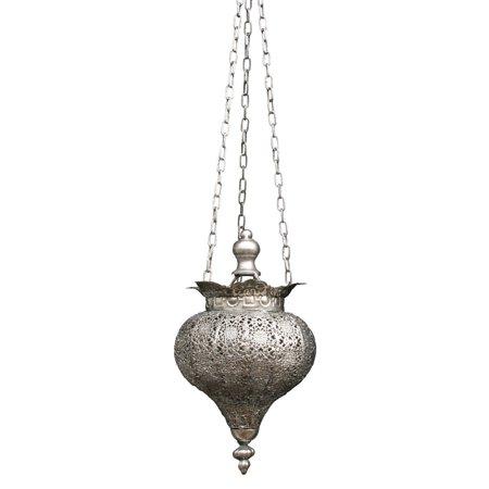 Antique Silver Oriental Metal Hanging Pendant Light Candle Lantern - Small