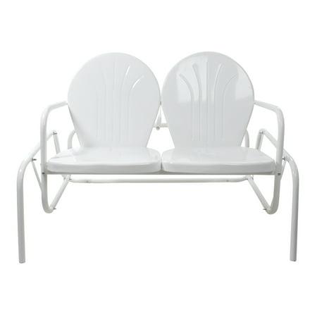 47-Inch Outdoor Retro Tulip Double Glider Chair, White