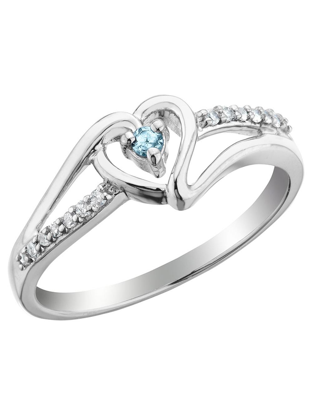 Aquamarine Heart Promise Ring with Diamonds in Sterling Silver