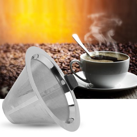 Tbest Stainless Steel Mesh Cone Shaped Coffee Dripper Funnel Filter Tea Strainer Silicone Grip