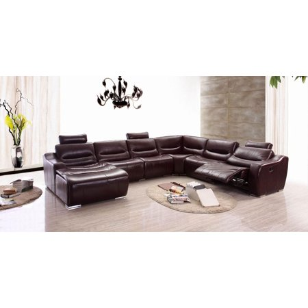 ESF 2144 Modern Dark Brown Genuine Leather Full Top Sectional Sofa Recliner  Left