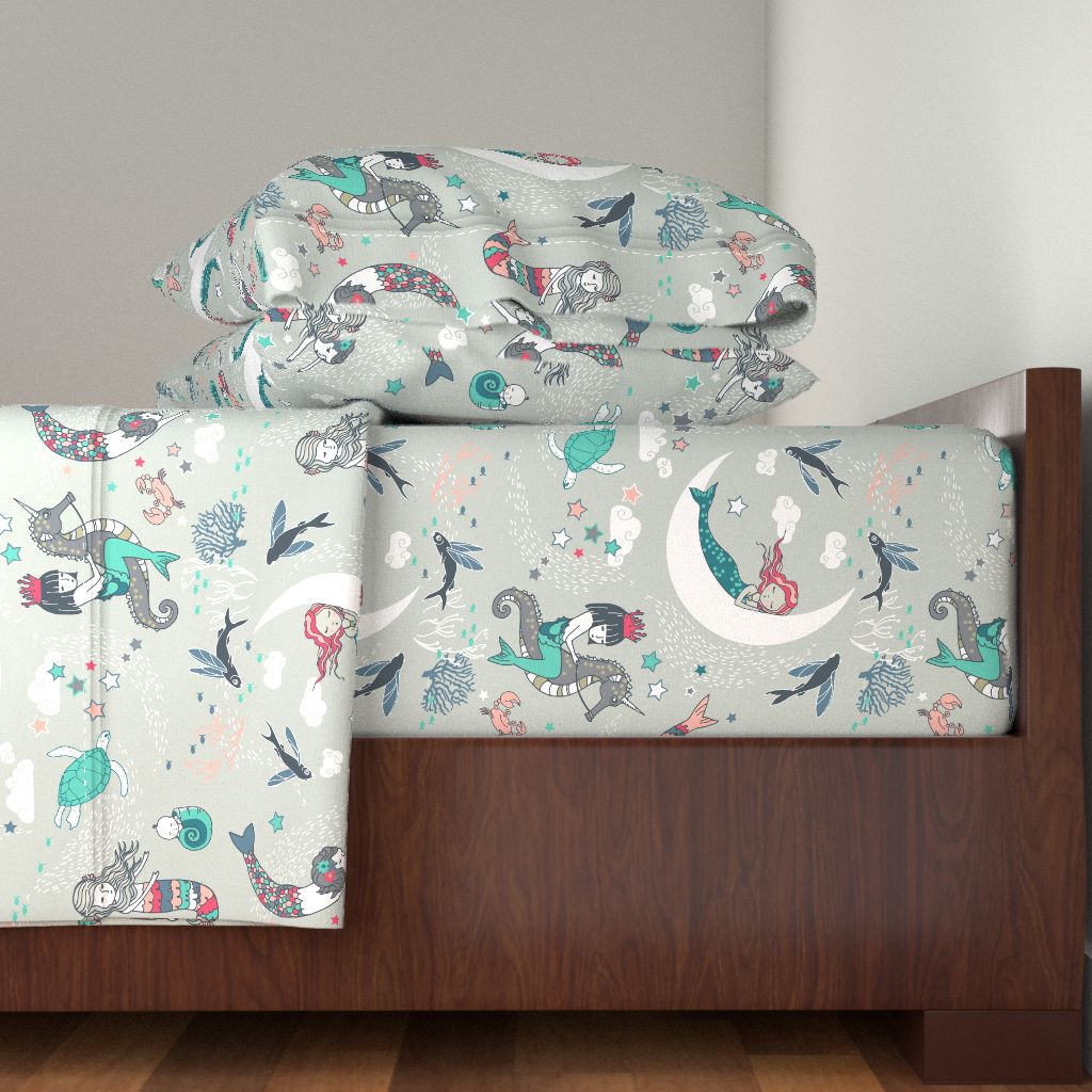 Mermaid Pajamas Girl Seahorse Coral 100% Cotton Sateen Sheet Set by Roostery