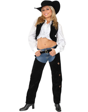 Women/'s Small 5-7 Range Rider Cowgirl Black Faux Leather Chaps and Vest Set