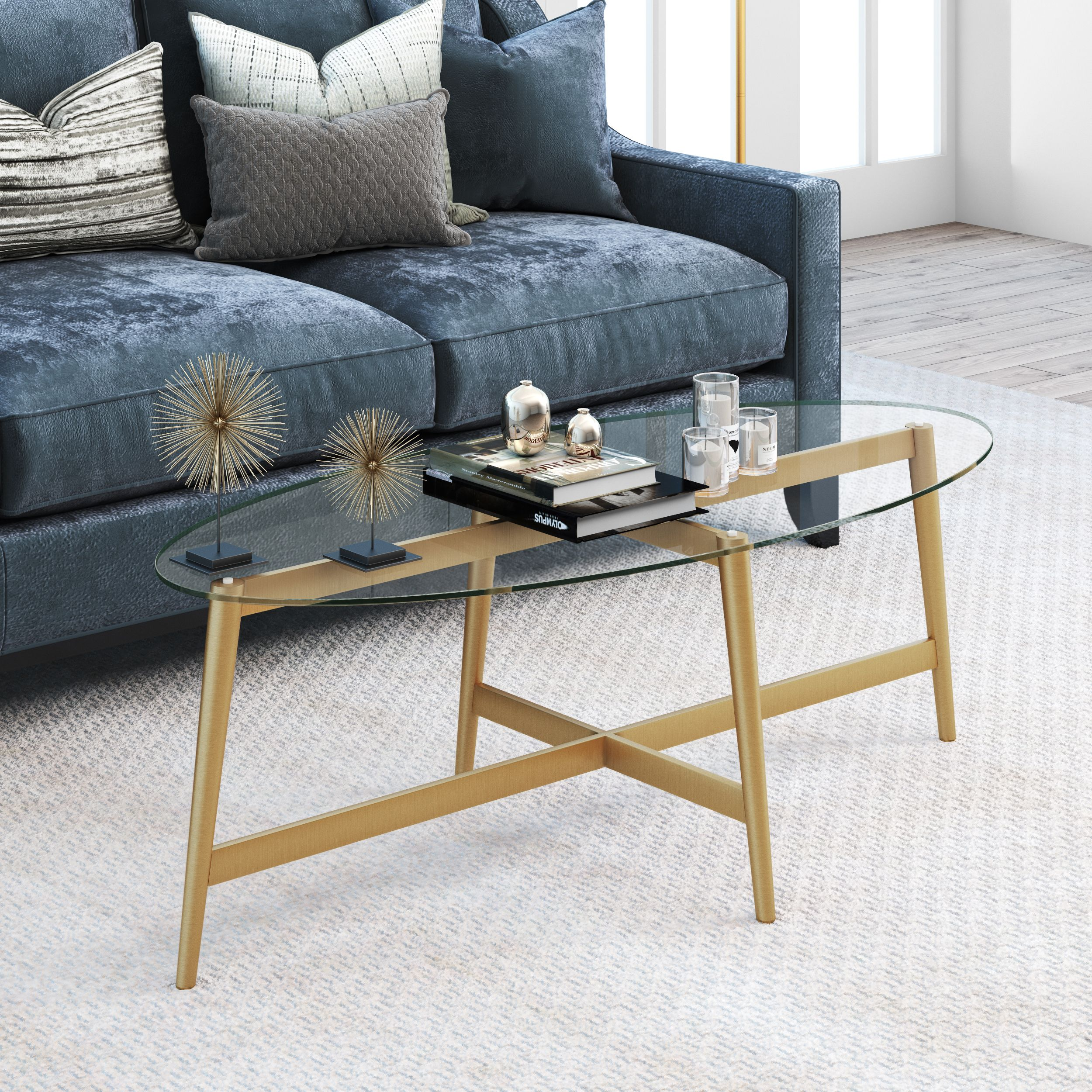 Olson oval coffee table in gold