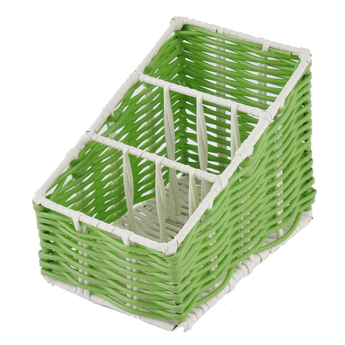 Kitchen Desk Plastic 3 Grids Woven Holder Organizer Storage Box Basket Green