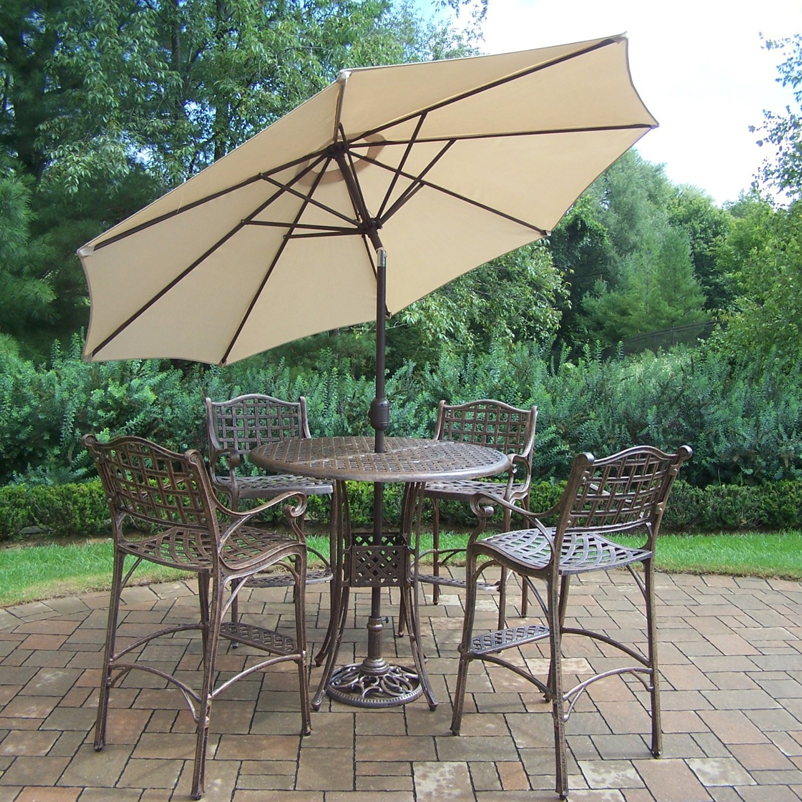Oakland Living Elite Cast Aluminum 5 Piece Patio Bar Set with Tilting Umbrella and Stand