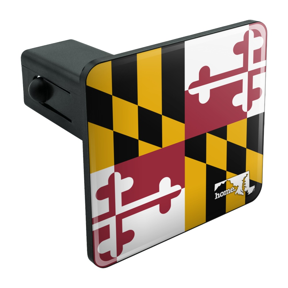 """Maryland MD Home State Flag Officially Licensed Tow Trailer Hitch Cover Plug Insert 1 1/4 inch (1.25"""")"""