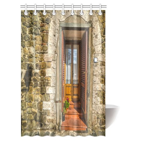 MYPOP Rustic Shower Curtain, Medieval Facade Italian Rustic Wooden Door Brick Wall in Small Village Fabric Bathroom Shower Curtain Set with Hooks, 48 X 72 Inches