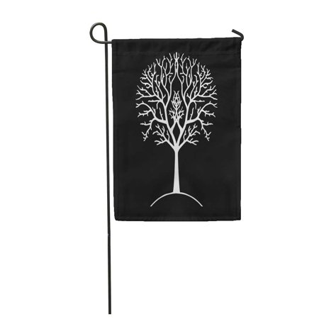 SIDONKU Autumn Tree Silhouette Black and White Gondor Lord of The Ring Branches Garden Flag Decorative Flag House Banner 12x18